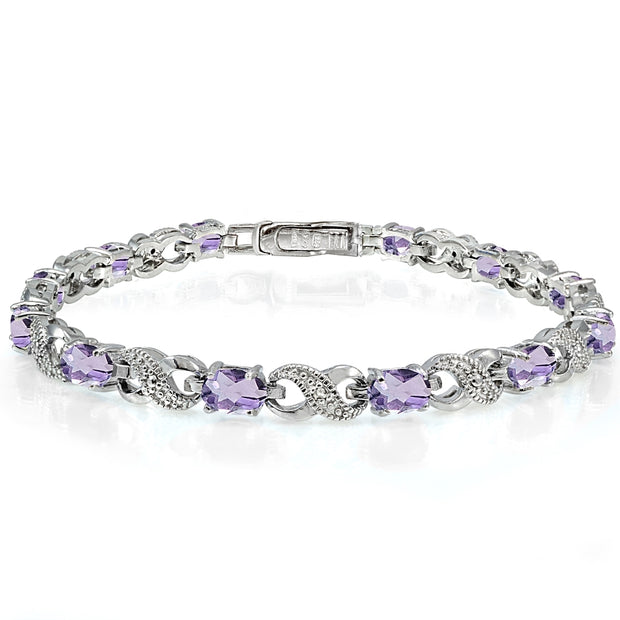 Sterling Silver Amethyst and Diamond Accent Infinity Tennis Bracelet