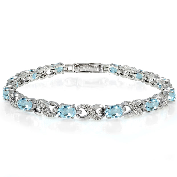 Sterling Silver Blue Topaz and Diamond Accent Infinity Tennis Bracelet