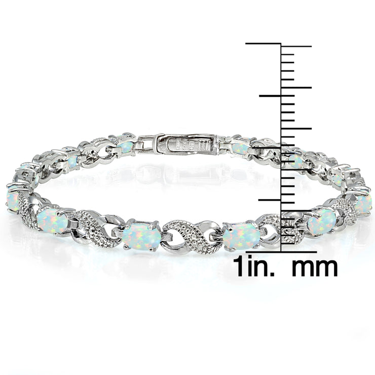 Sterling Silver Created White Opal and Diamond Accent Infinity Tennis Bracelet