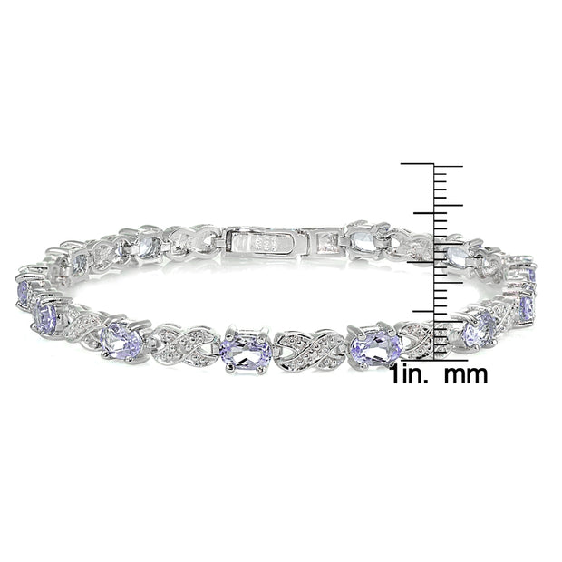 Sterling Silver Amethyst and Diamond Accent Infinity  X & Oval Tennis Bracelet