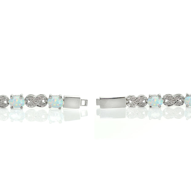 Sterling Silver Created White Opal and Diamond Accent Infinity  X & Oval Tennis Bracelet