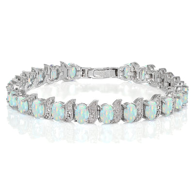 Sterling Silver Created White Opal and Diamond Accent Oval and S Tennis Bracelet