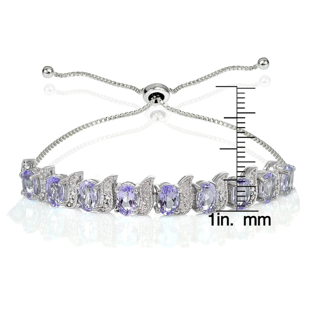 Sterling Silver Amethyst and Diamond Accent Oval & S Adjustable Tennis Bracelet