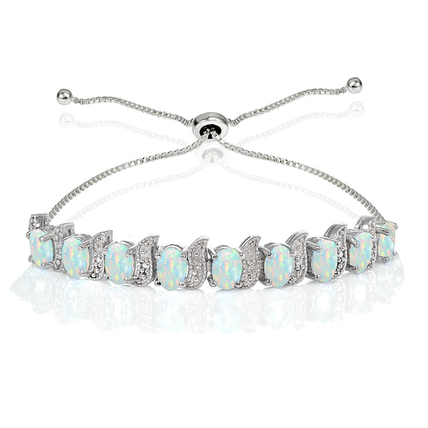 Sterling Silver Created White Opal and Diamond Accent Oval & S Adjustable Tennis Bracelet