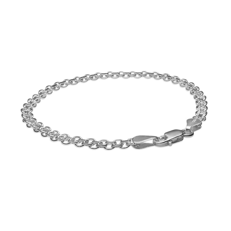 Sterling Silver 3mm Bismark Chain Bracelet, 7 Inches