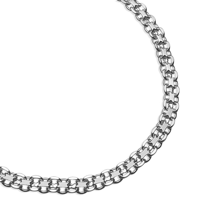 Sterling Silver 3mm Bismark Chain Bracelet, 8 Inches