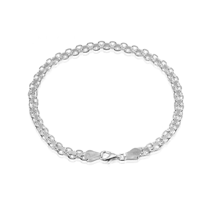 Sterling Silver 4mm Bismark Chain Bracelet, 7 Inches