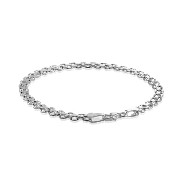 Sterling Silver 4mm Bismark Chain Bracelet, 8 Inches