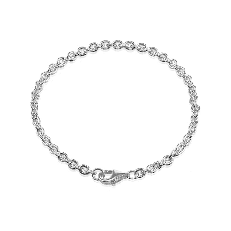 Sterling Silver 4mm Oval Link Chain Bracelet, 8 Inches