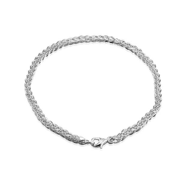 Sterling Silver 2mm Spiga Chain Bracelet, 7 Inches