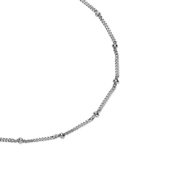 Sterling Silver 2mm Bead Station Cable Chain Bracelet, 8 Inches