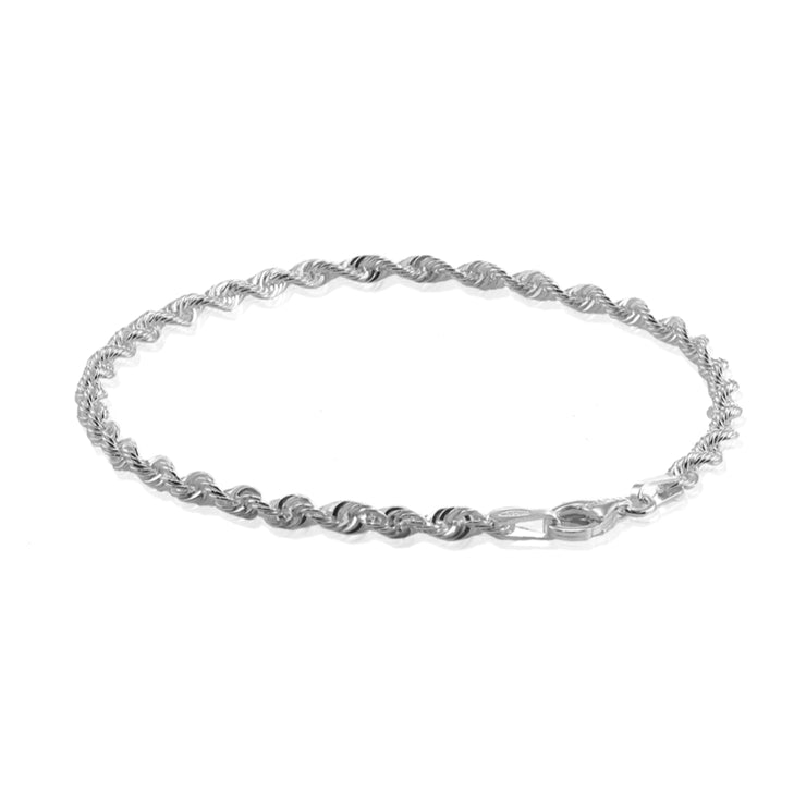 Sterling Silver 2mm Twist Rope Chain Bracelet, 7 Inches