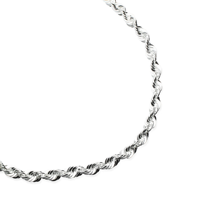 Sterling Silver 3mm Twist Rope Chain Bracelet, 8 Inches