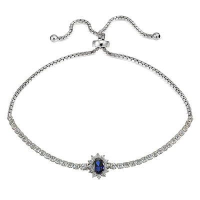 Sterling Silver Simulated Blue Sapphire Flower Tennis Adjustable Bolo Bracelet