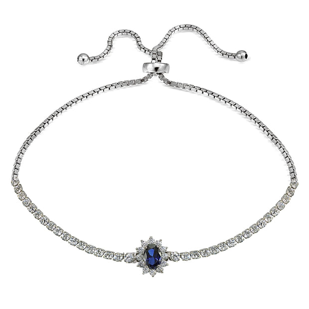 Sterling Silver Created Blue Sapphire Flower Tennis Adjustable Bolo Bracelet
