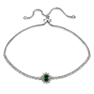 Sterling Silver Simulated Emerald Sun Flower Tennis Adjustable Bolo Bracelet