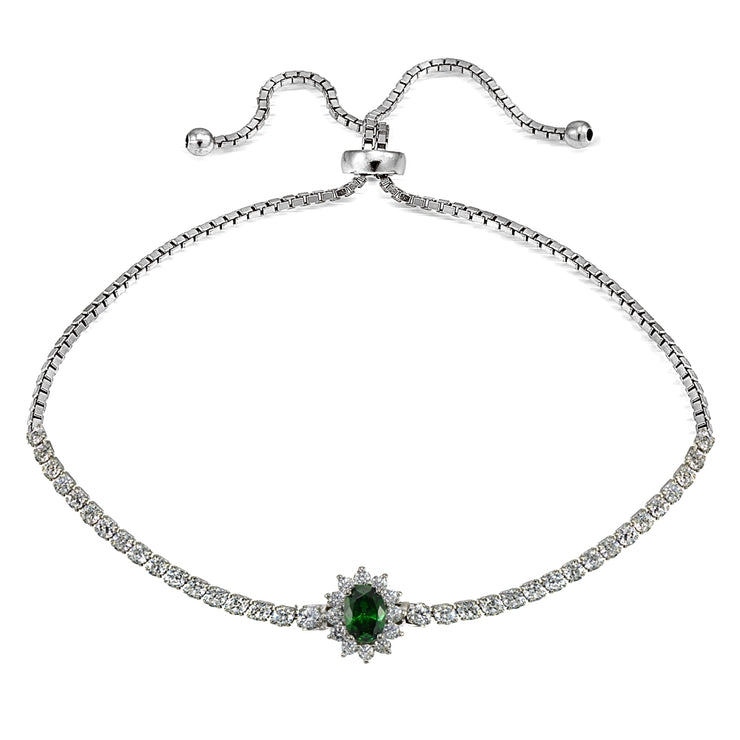 Sterling Silver Created Emerald Sun Flower Tennis Adjustable Bolo Bracelet