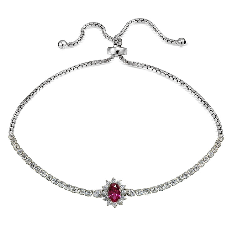 Sterling Silver Created Ruby Flower Tennis Adjustable Bolo Bracelet