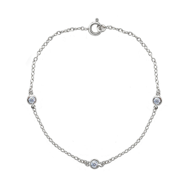 Sterling Silver CZ Station Dainty Chain Bracelet, 7 Inches