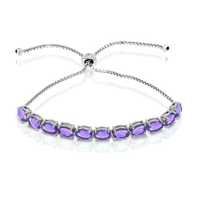 Sterling Silver African Amethyst 7x5mm Oval-cut Adjustable Tennis Bracelet