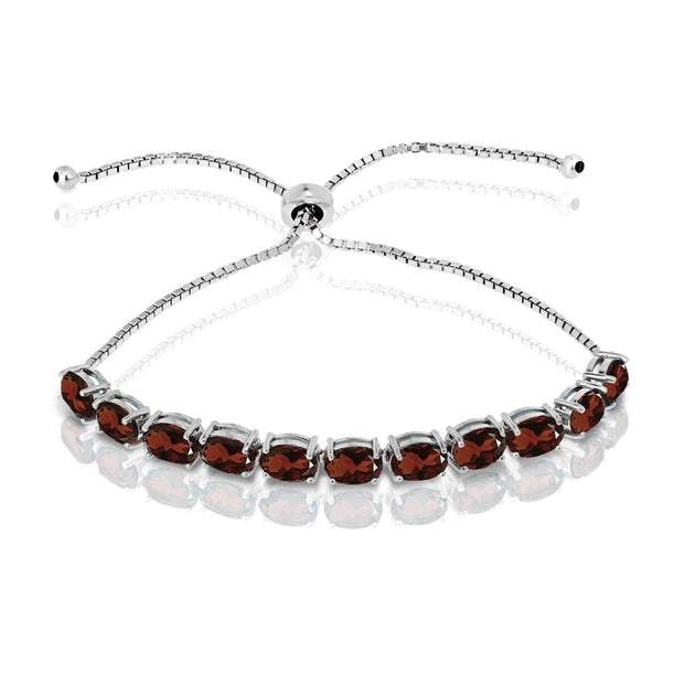 Sterling Silver African Garnet 7x5mm Oval-cut Adjustable Tennis Bracelet