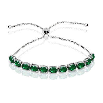 Sterling Silver Simulated Emerald 7x5mm Oval-cut Adjustable Tennis Bracelet