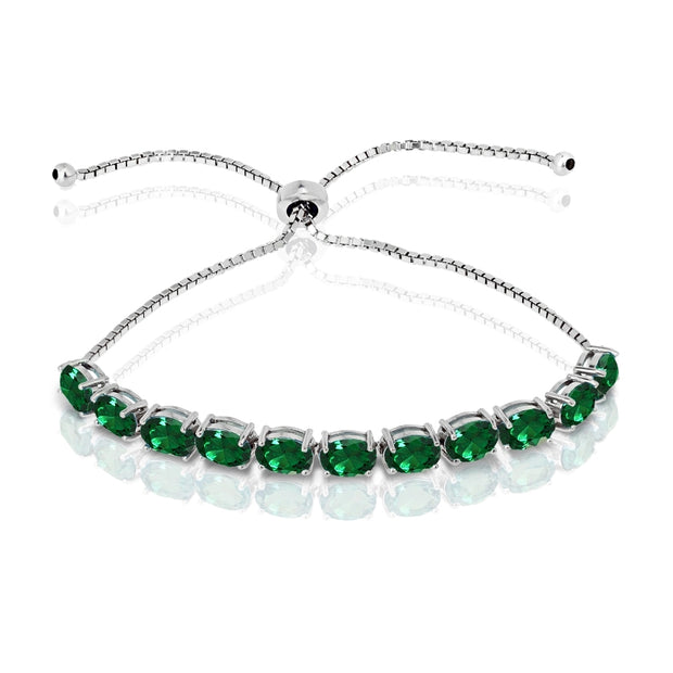 Sterling Silver Created Emerald 7x5mm Oval-cut Adjustable Tennis Bracelet