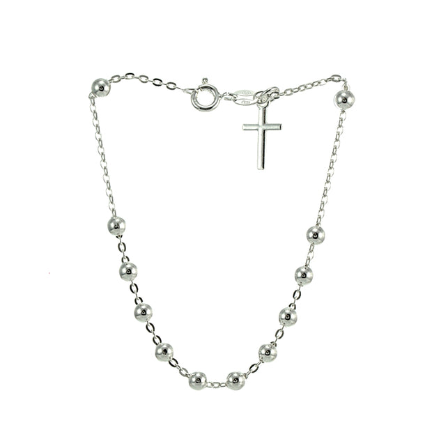 Sterling Silver Bead Station Cross Chain Bracelet