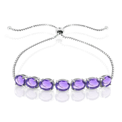 Sterling Silver Amethyst 9x7mm Oval-cut Adjustable Bracelet