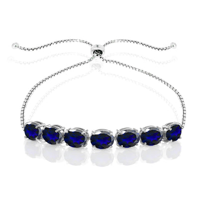 Sterling Silver Created Blue Sapphire 9x7mm Oval-cut Adjustable Bracelet