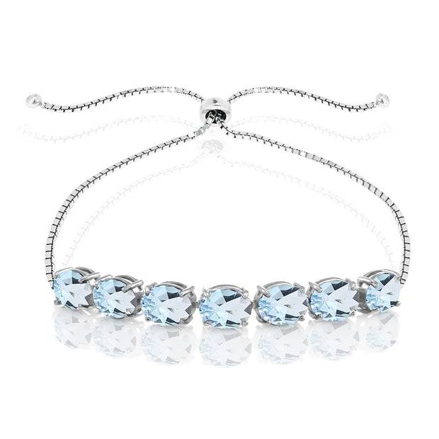 Sterling Silver Blue Topaz 9x7mm Oval-cut Adjustable Bracelet