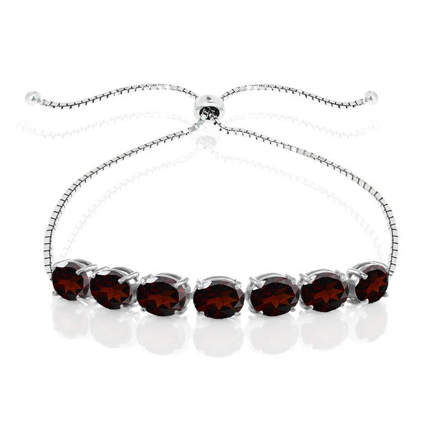 Sterling Silver Garnet 9x7mm Oval-cut Adjustable Bracelet