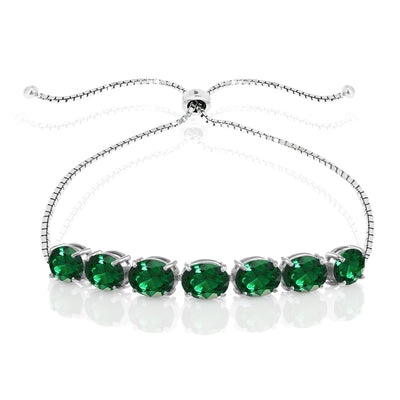 Sterling Silver Simulated Emerald 9x7mm Oval-cut Adjustable Bracelet