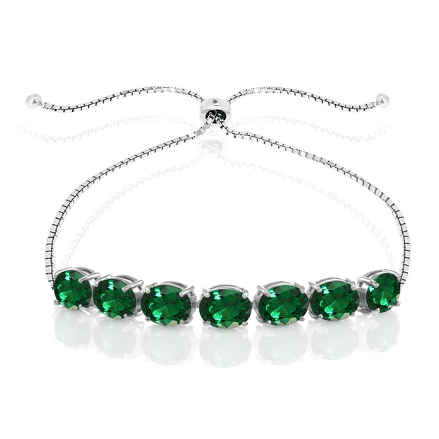 Sterling Silver Created Emerald 9x7mm Oval-cut Adjustable Bracelet