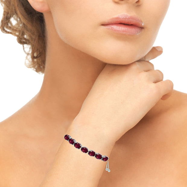 Sterling Silver Created Ruby 9x7mm Oval-cut Adjustable Bracelet