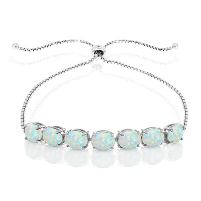 Sterling Silver Simulated White Opal 9x7mm Oval-cut Adjustable Bracelet
