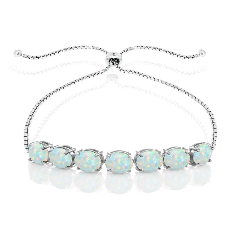 Sterling Silver Created White Opal 9x7mm Oval-cut Adjustable Bracelet