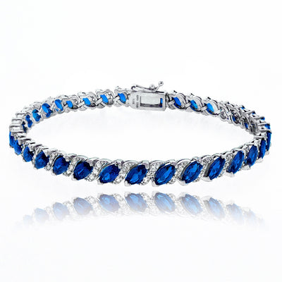 Sterling Silver Created Blue Sapphire Marquise-cut 6x3mm Tennis Bracelet with White Topaz Accents