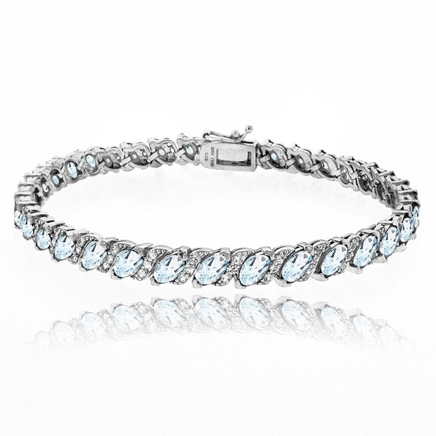 Sterling Silver Blue Topaz Marquise-cut 6x3mm Tennis Bracelet with White Topaz Accents
