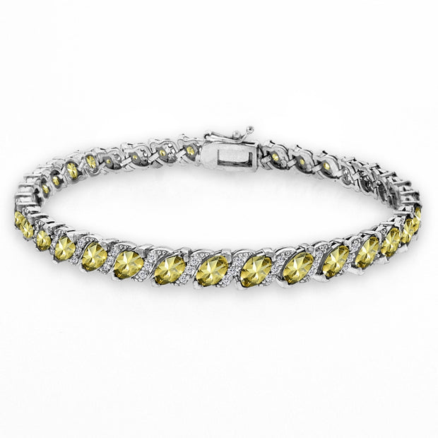 Sterling Silver Citrine Marquise-cut 6x3mm Tennis Bracelet with White Topaz Accents