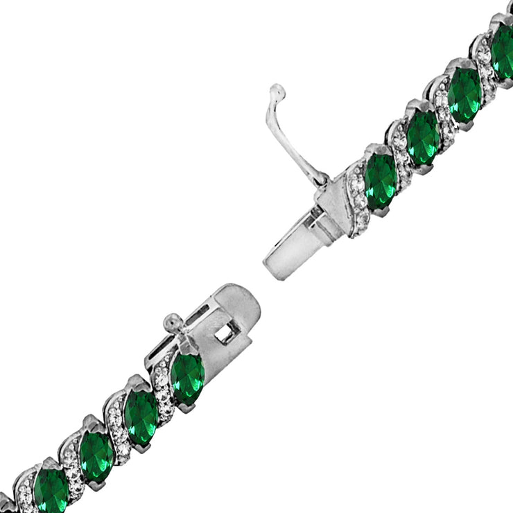 Sterling Silver Created Emerald Marquise-cut 6x3mm Tennis Bracelet with White Topaz Accents