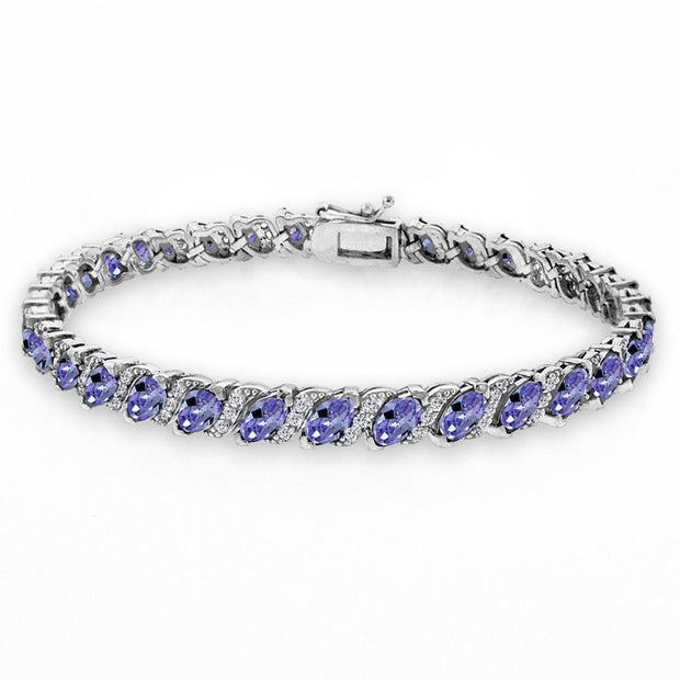 Sterling Silver Created Tanzanite Marquise-cut 6x3mm Tennis Bracelet with White Topaz Accents