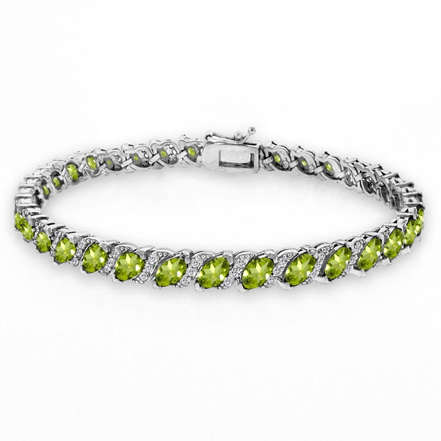 Sterling Silver Peridot Marquise-cut 6x3mm Tennis Bracelet with White Topaz Accents