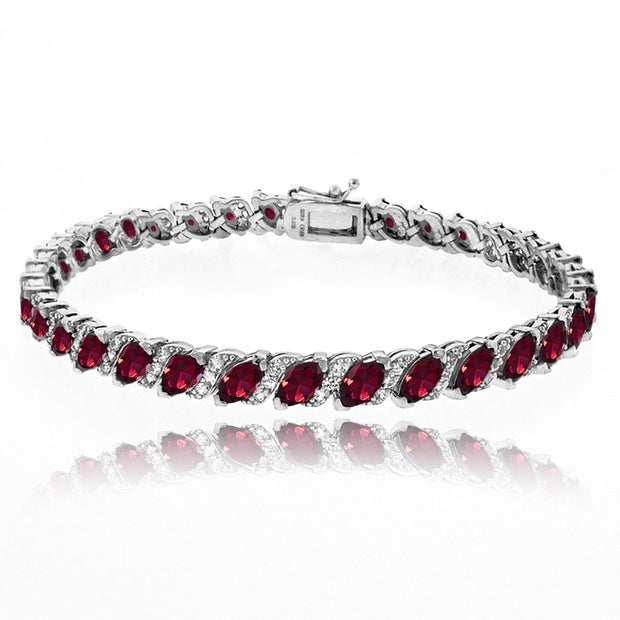 Sterling Silver Created Ruby Marquise-cut 6x3mm Tennis Bracelet with White Topaz Accents