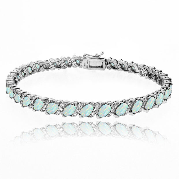 Sterling Silver Created White Opal Marquise-cut 6x3mm Tennis Bracelet with White Topaz Accents
