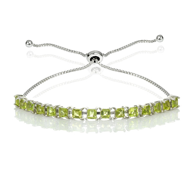 Sterling Silver 3mm Peridot Princess-cut Adjustable Bolo Tennis Bracelet