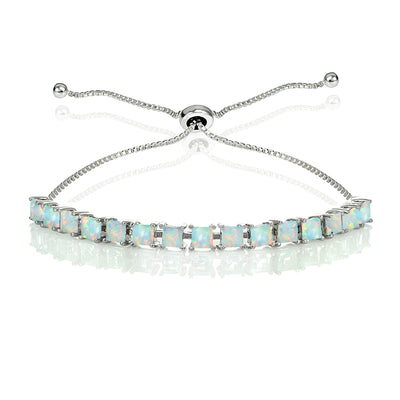 Sterling Silver 3mm Created White Opal Princess-cut Adjustable Bolo Tennis Bracelet