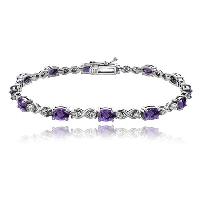 Sterling Silver African Amethyst 6x4mm Oval Infinity Bracelet with White Topaz Accents