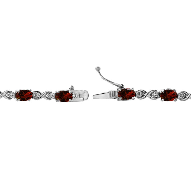 Sterling Silver Garnet 6x4mm Oval Infinity Bracelet with White Topaz Accents
