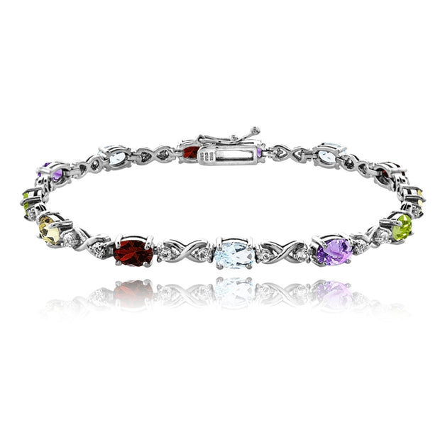 Sterling Silver Multi Color 6x4mm Oval Infinity Bracelet with White Topaz Accents